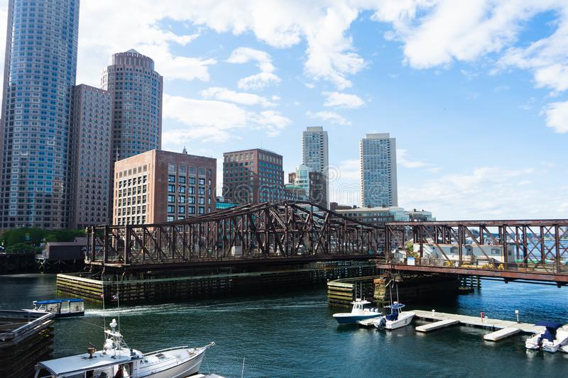 Boston Skyline cityscape view from Seaport stock images