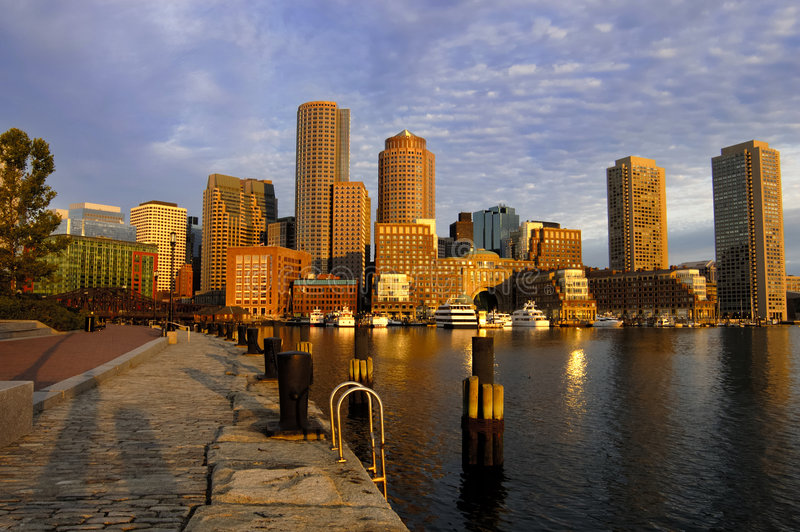 Boston skyline at dawn royalty free stock photo