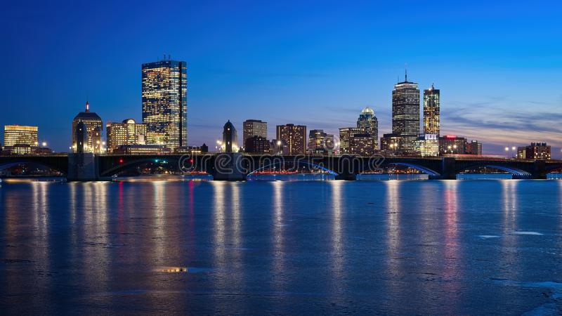 Boston skyline at dusk from Cambridge royalty free stock photography