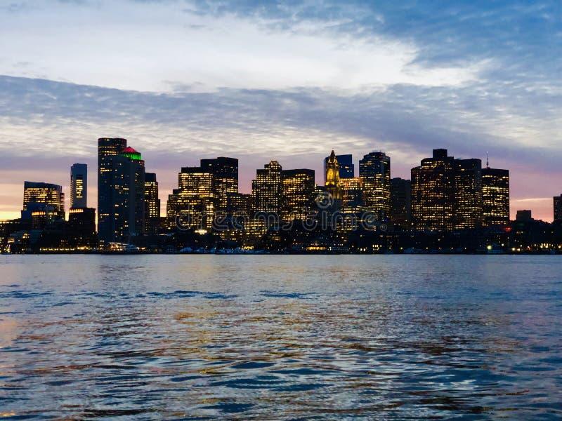 Boston Skyline in the evening in winter stock photo