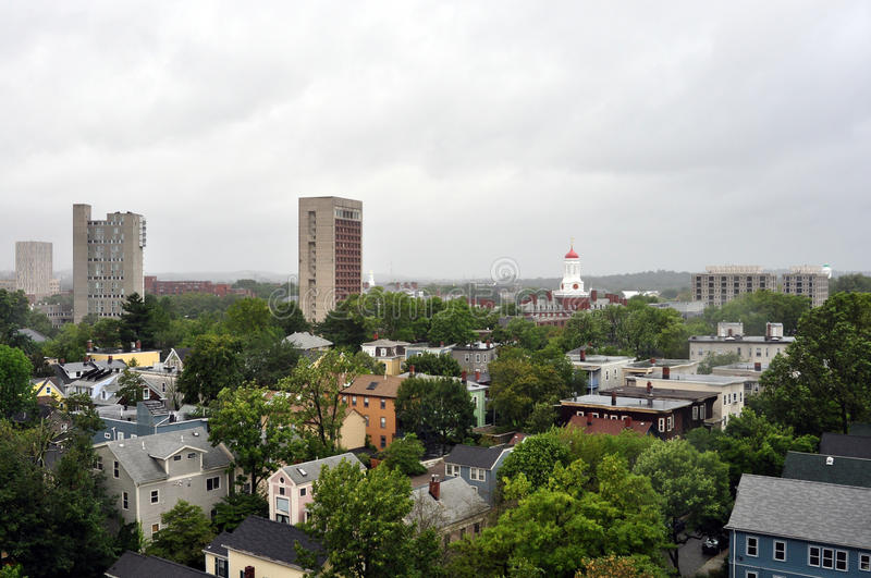 Boston skyline during Hurricane Irene. 28th August 2011, Boston - Skyline of the city (with Harvard bell tower) during the Hurricane Irene stock image