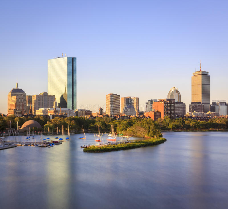 Boston. The skyline of Boston in Massachusetts, USA with its mix of modern and historic architecture stock photography
