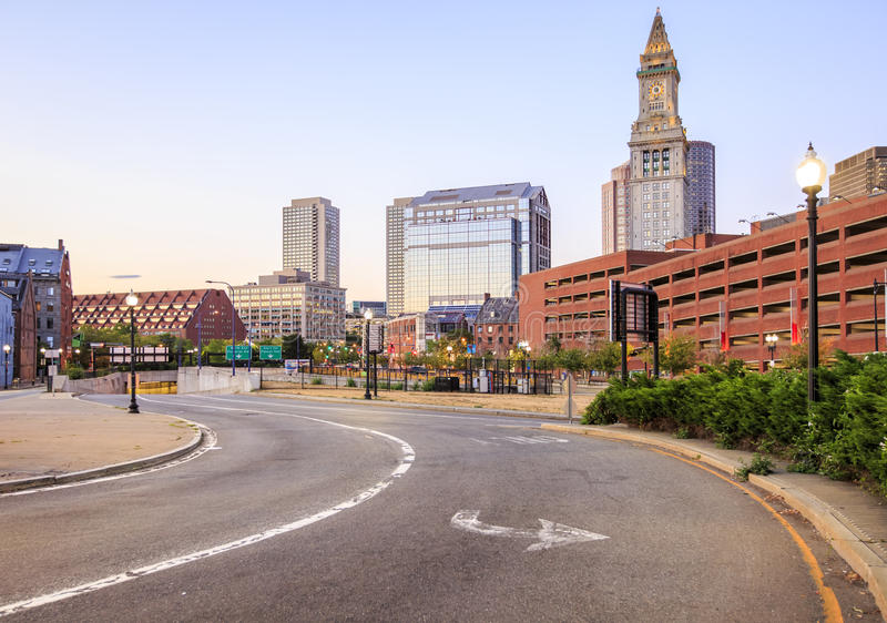 Boston. The skyline of Boston in Massachusetts, USA with its mix of modern and historic architecture royalty free stock image