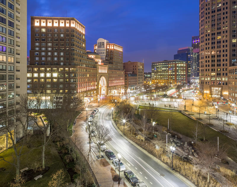 Boston. The skyline of Boston in Massachusetts, USA with its mix of modern and historic architecture stock photo