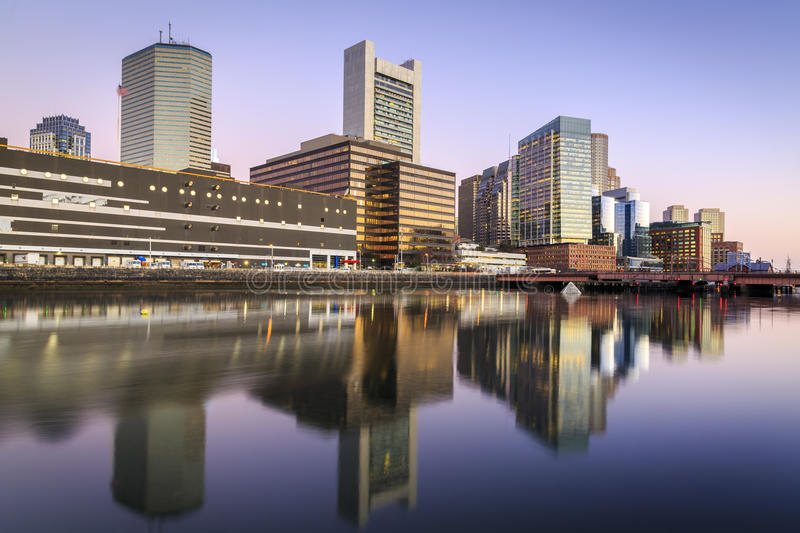 Boston. The skyline of Boston in Massachusetts, USA with its mix of modern and historic architecture stock photos