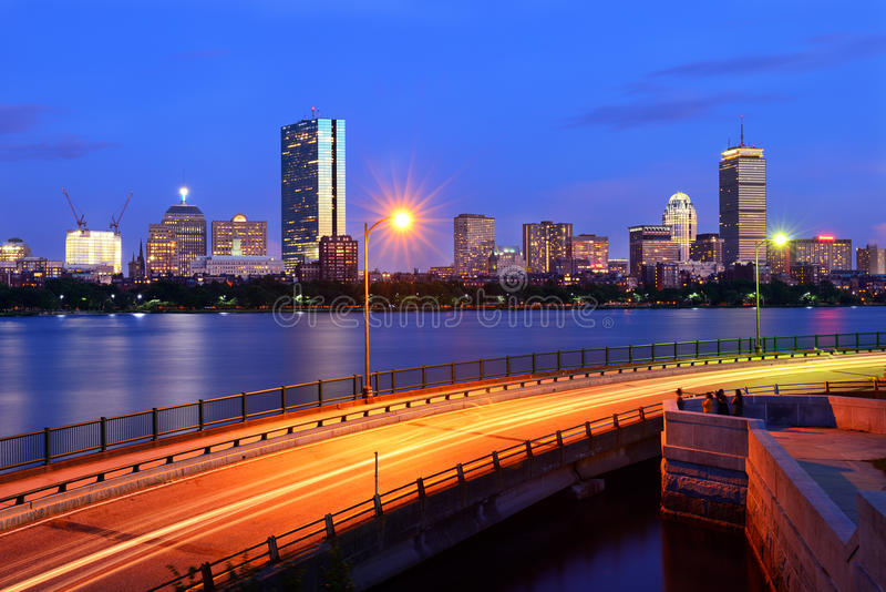 Boston Skyline and Memorial Drive royalty free stock photos