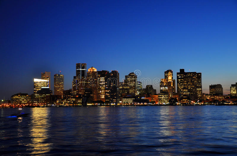 Boston Skyline at night stock photography