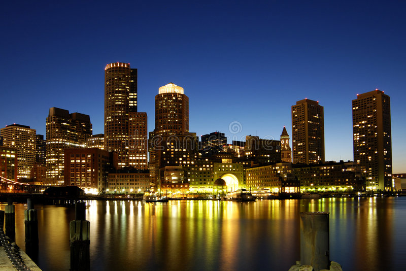 Boston skyline at night royalty free stock photography