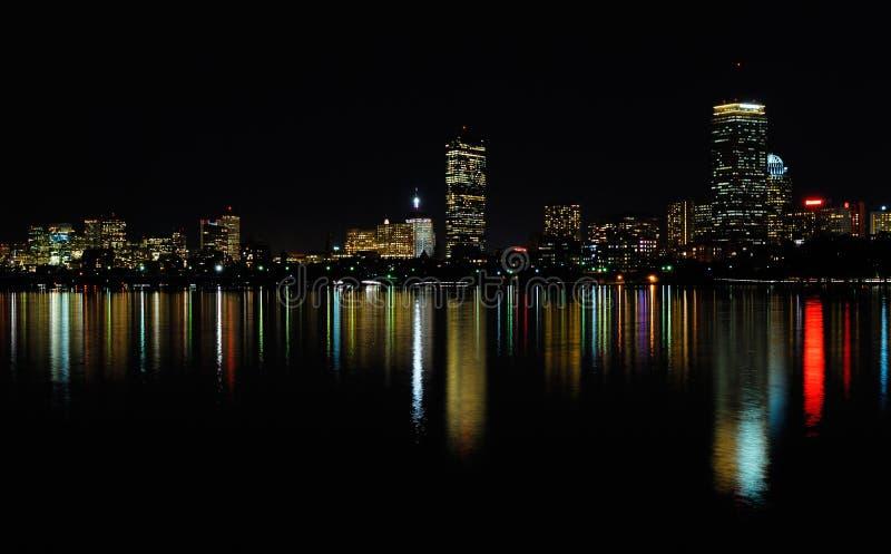 Boston skyline at night stock image
