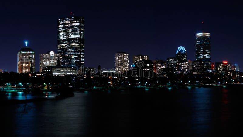 Boston skyline at night stock photos