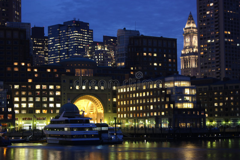 Boston SKyline at night. The Boston city skyline at night stock photos