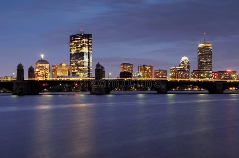 Boston Skyline at Night royalty free stock photography