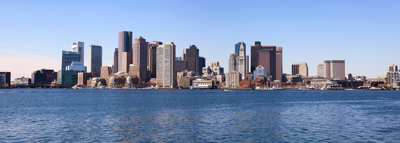 Boston skyline panorama royalty free stock images