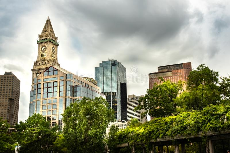 Boston skyline showing the Clock Tower in a cloudy day stock photo