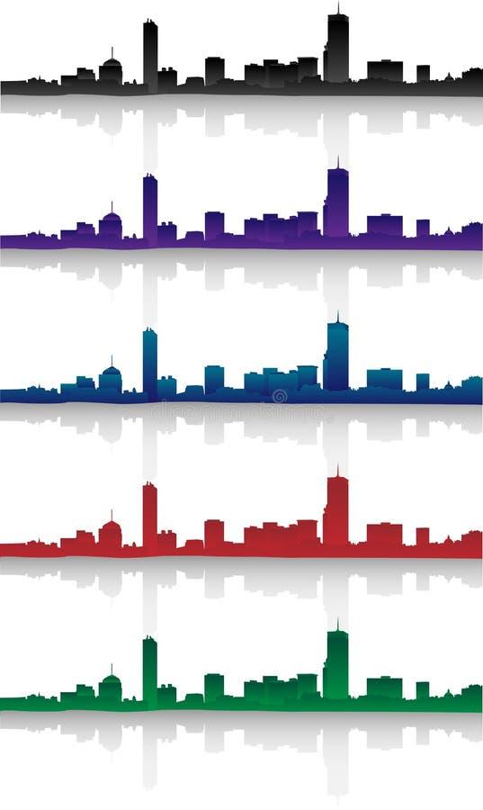 Free Boston Skyline Silhouette Set Stock Photo - 34887690