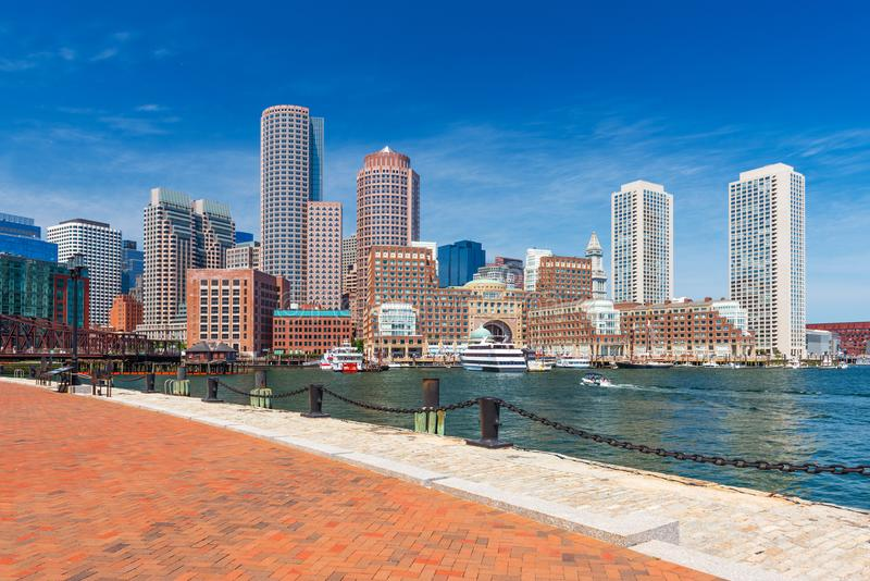 Boston skyline in summer day, USA royalty free stock photo