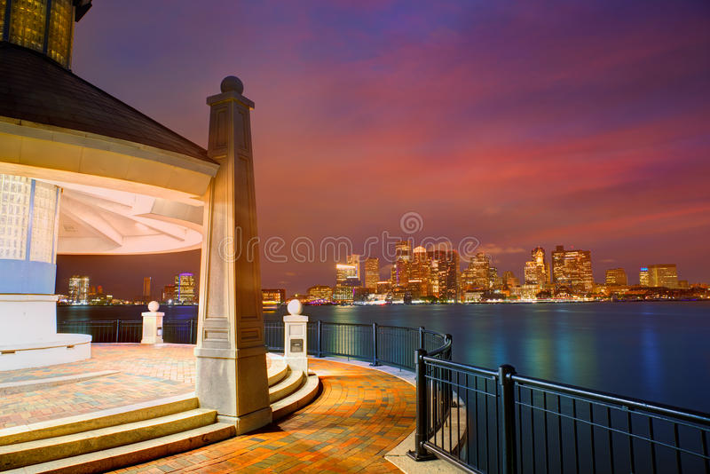 Boston skyline at sunset Piers Park Massachusetts royalty free stock photo