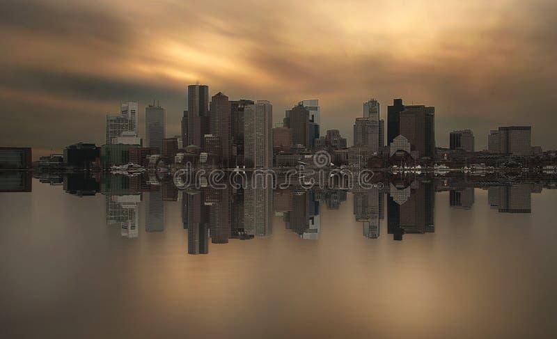 Boston skyline symmetry royalty free stock images