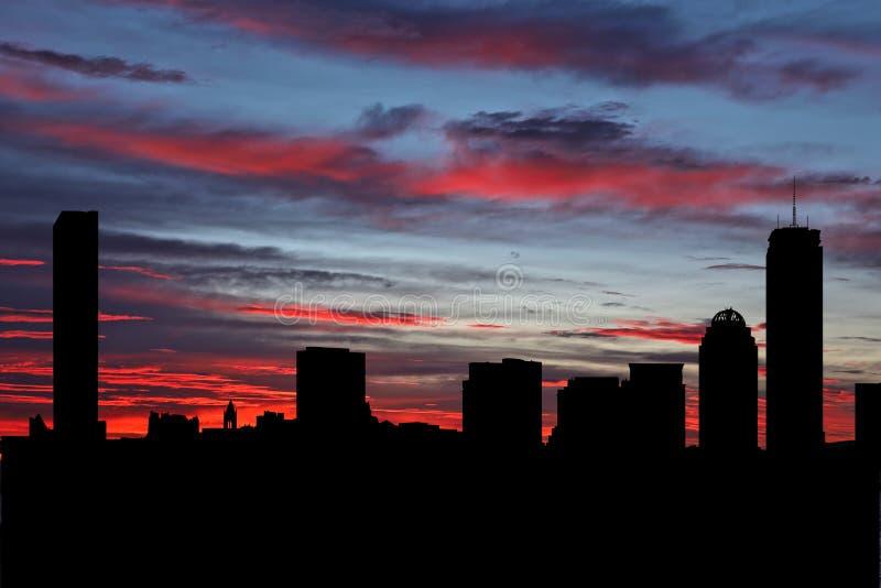 Boston skyline vid solnedgångsillustration fotografering för bildbyråer