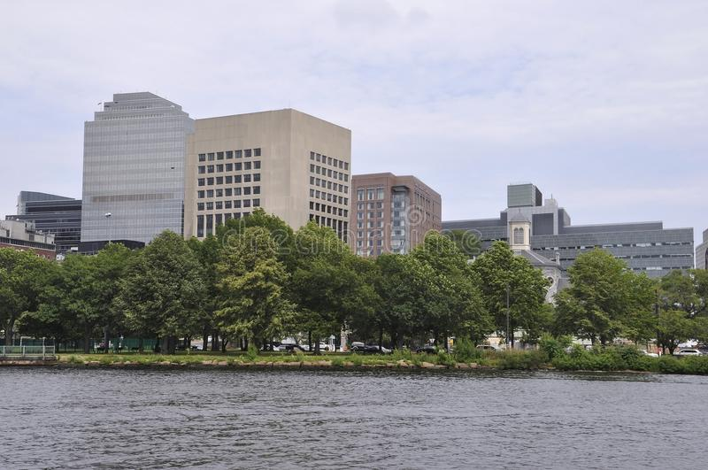 Boston Skyline view from Charles river in Boston Massachusettes State of USA royalty free stock images