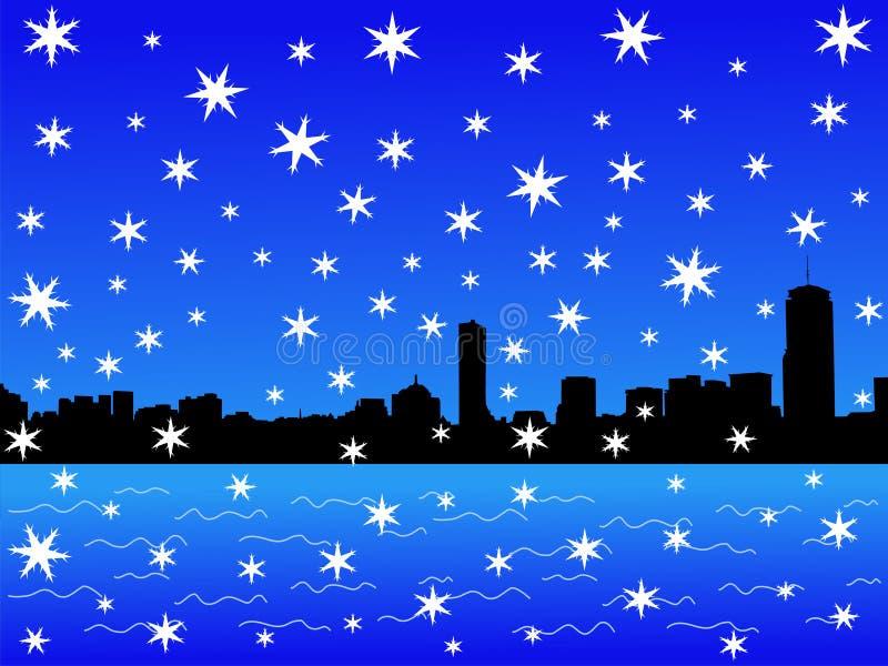 boston skyline zimy. ilustracja wektor
