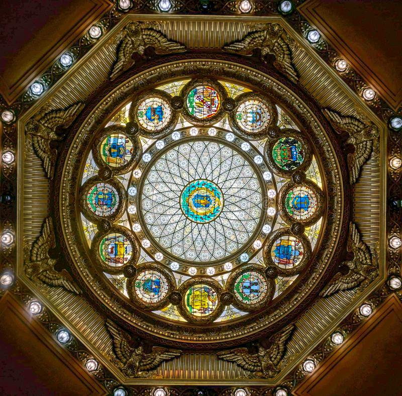 Boston Stained Glass. Freedom, hall, ceiling, art, light, color stock photography