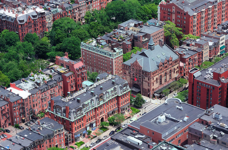 Boston Street aerial view. Boston downtown aerial view with historical architecture, street and city skyline stock photos