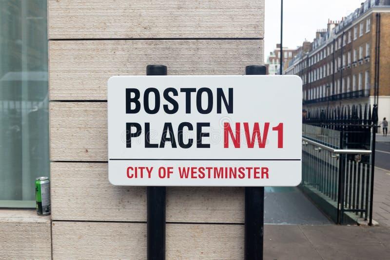 Boston Street Namensschild, London lizenzfreie stockfotos