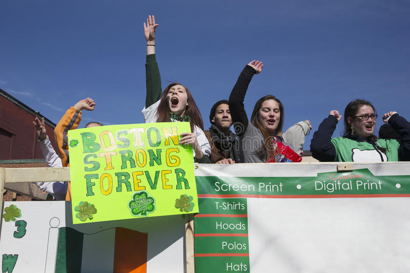 Boston Strong Forever Sign, St. Patrick's Day Parade, 2014, South Boston, Massachusetts, USA royalty free stock image