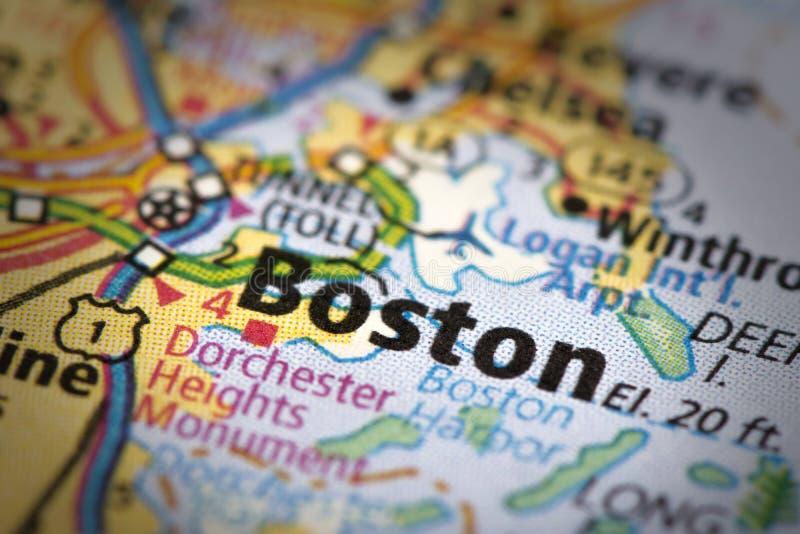 Boston sulla mappa immagini stock libere da diritti