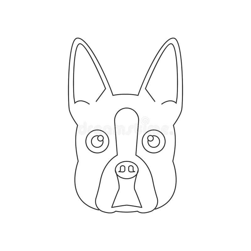 Boston-Terriergesichtsikone Element des Hundes f?r bewegliches Konzept und Netz Appsikone Entwurf, d?nne Linie Ikone f?r Websitee lizenzfreie abbildung