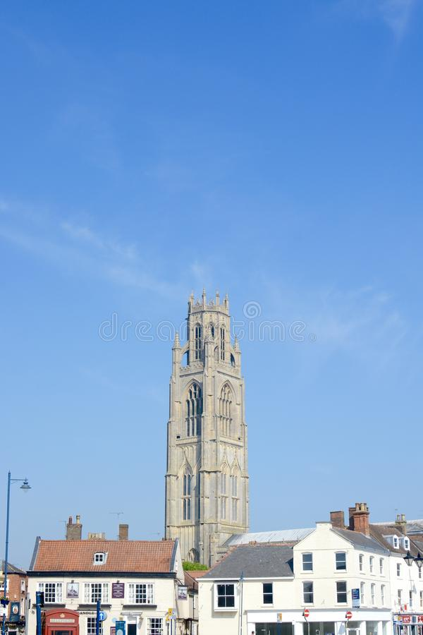 Boston town centre. With St. Botolph church visible, Boston, Lincolnshire, UK royalty free stock image