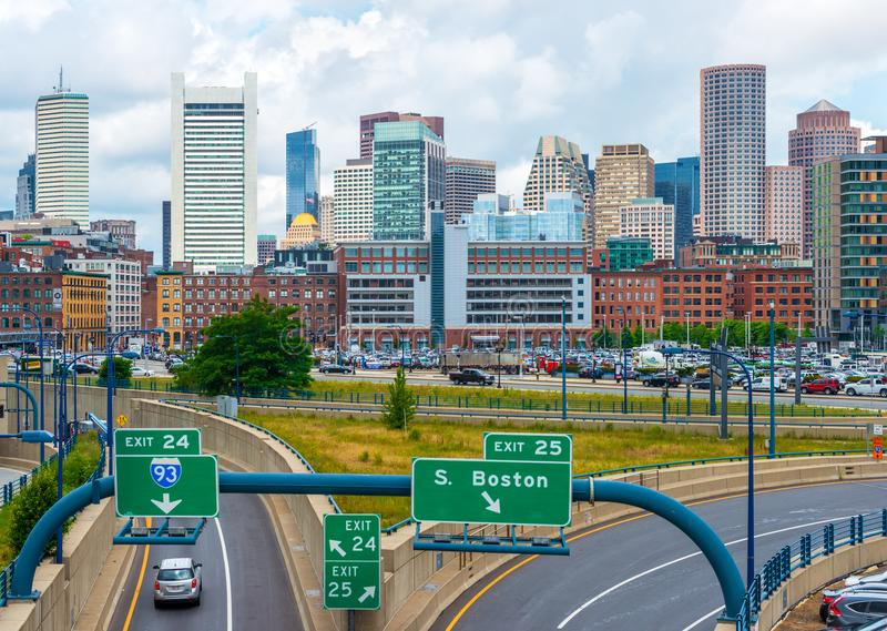 Boston, USA: Boston skyline in summer day. Boston - June 2016, USA: Boston skyline in summer day, view of downtown and highway with traffic stock image