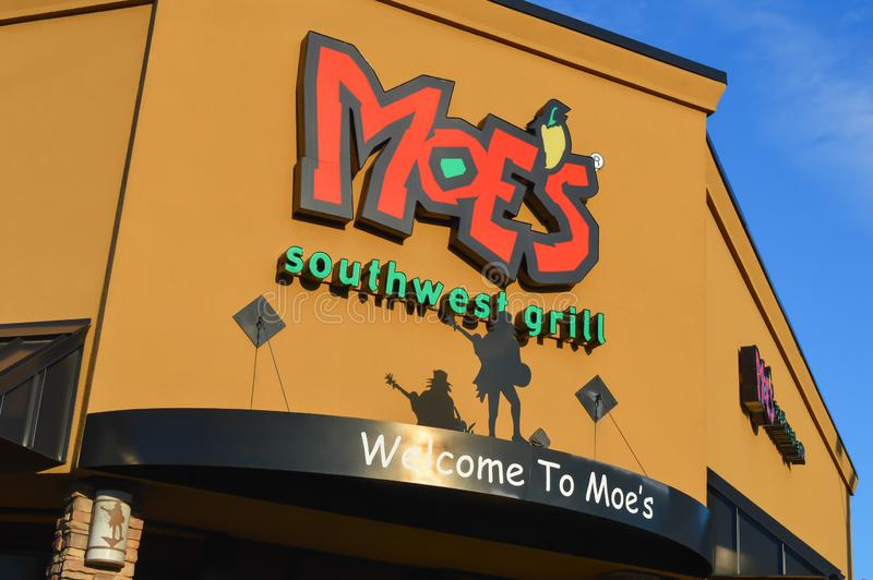 Moe`s Southwest Grill, Mexican Restaurant & Grill in Waltham, USA on December 11, 2016. BOSTON, USA - DECEMBER 11: Moe`s Southwest Grill, Mexican Restaurant & royalty free stock photo