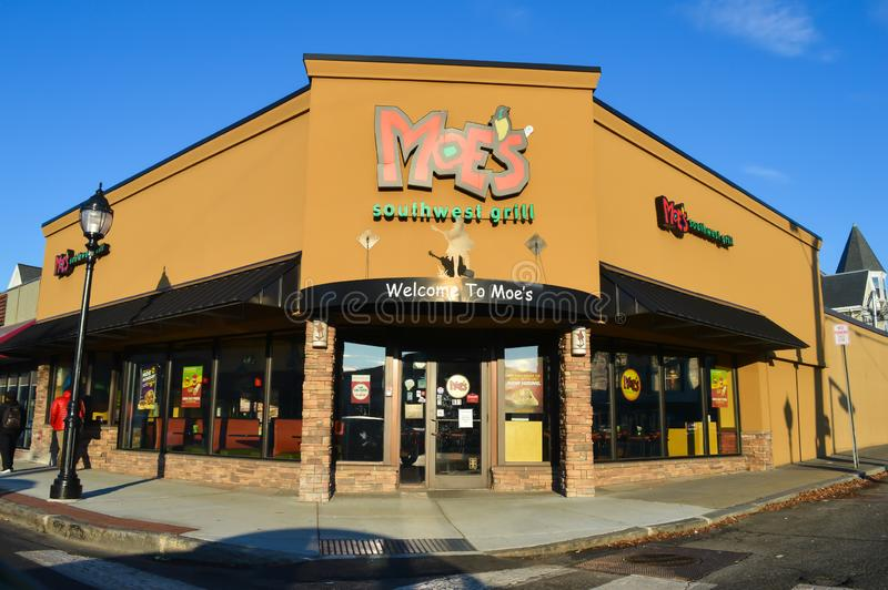 Moe`s Southwest Grill, Mexican Restaurant & Grill in Waltham, USA on December 11, 2016. BOSTON, USA - DECEMBER 11: Moe`s Southwest Grill, Mexican Restaurant & stock image
