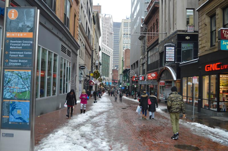 Snowy street after winter storm in Boston, USA on December 11, 2016. BOSTON, USA - DECEMBER 11: Snowy street after winter storm in Boston, USA on December 11 stock image