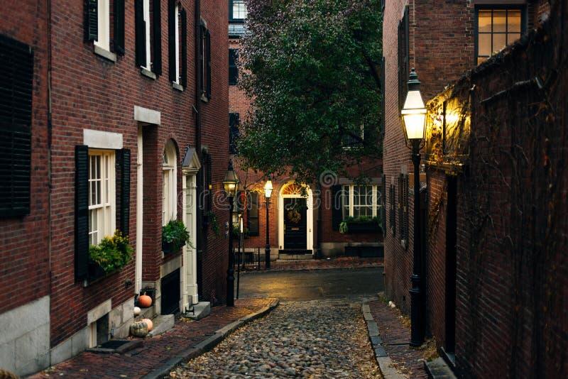 Halloween In Usa 2020 Boston, Usa   February, 2020 Acorn Street At Halloween Time