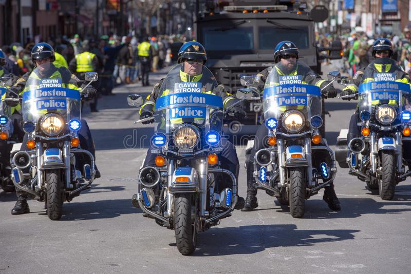 Police Motorcycle in Saint Patrick's Day parade Boston, USA royalty free stock photo