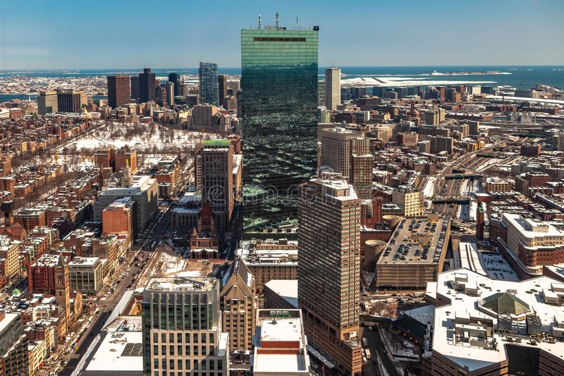 Boston, USA- March 08, 2019: panorama, a view from the air on the snowy Boston streets, Massachusetts, United States stock image