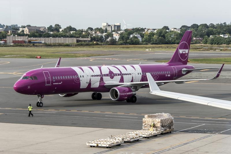Boston USA 23.09.2017 purple Airbus A321 airplane from Icelandic low-cost company WOW at at the International Airport royalty free stock photography