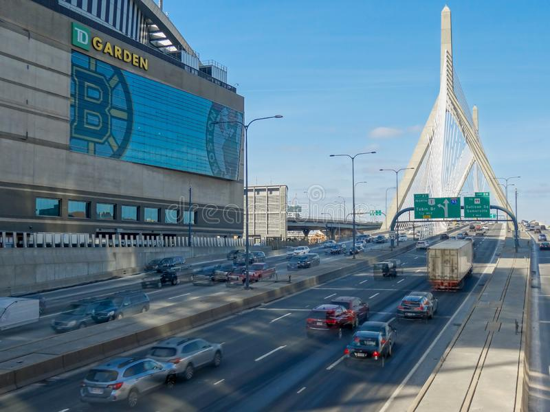 Boston USA,Traffic moving over the Leonard P. Zakim Bunker Hill Memorial Bridge at sunny day, Massachusetts stock images