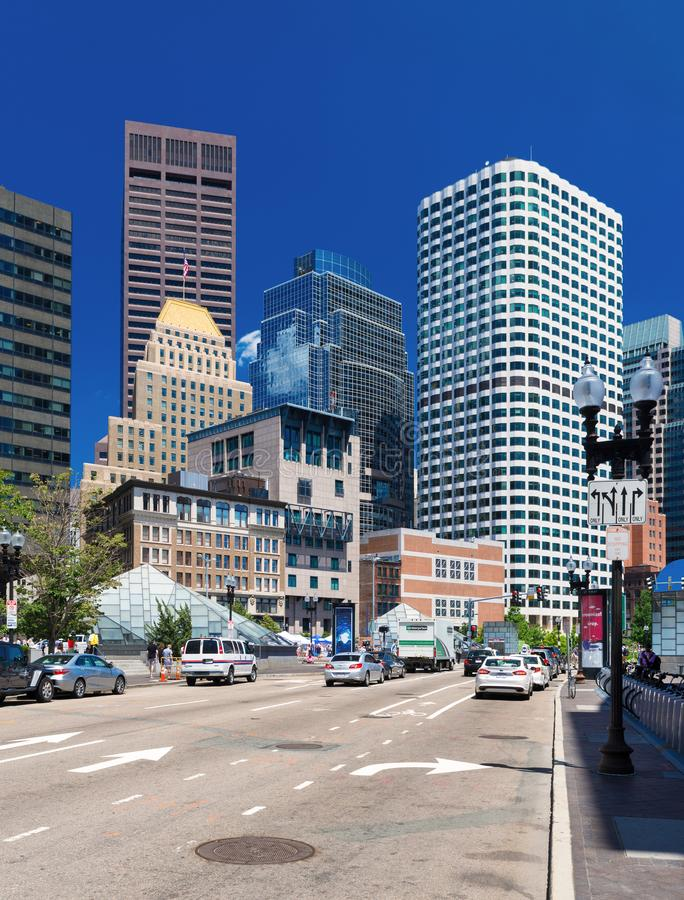 Boston, USA: Wolkenkratzer in finacial Bezirk Bostons lizenzfreies stockfoto