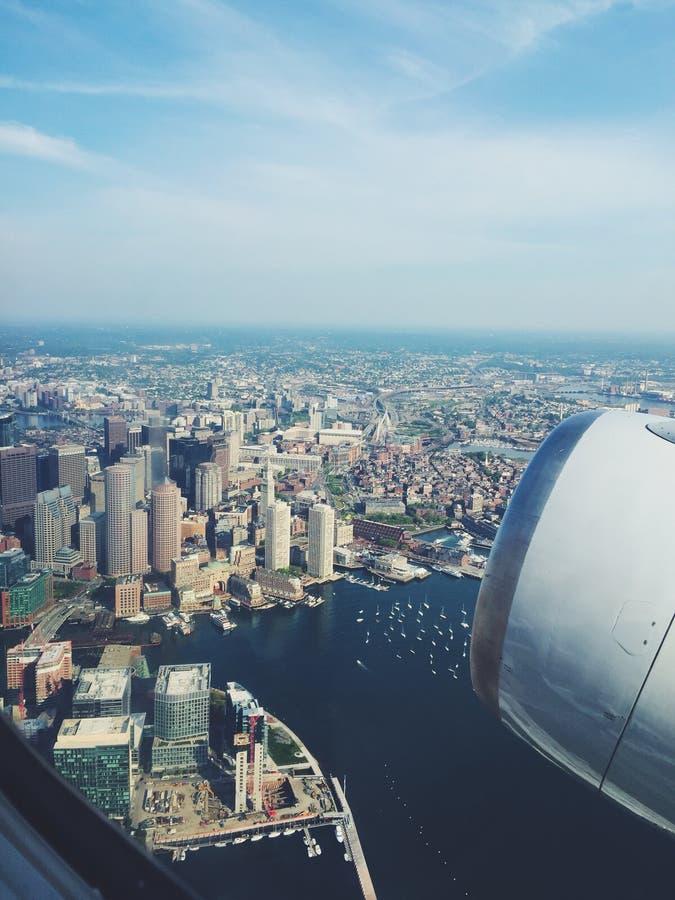 Boston vid plan sikt arkivfoton