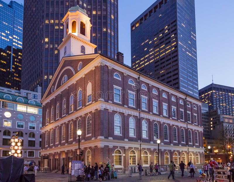 Boston. View of Boston in Massachusetts, USA showcasing the Georgian architecture of the Faneuil Hall at sunset royalty free stock image