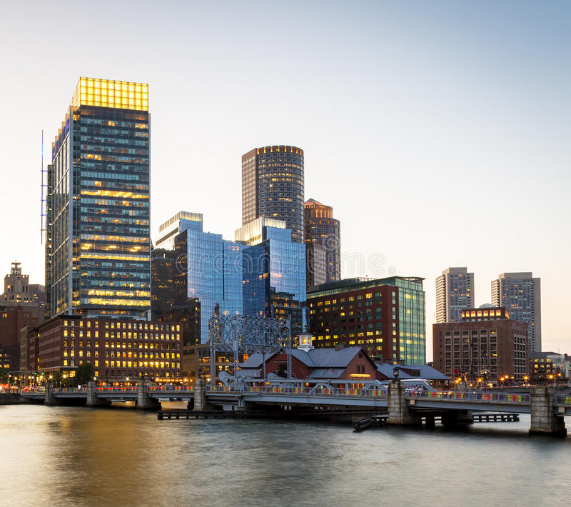 Boston. View of Boston in Massachusetts, USA at sunset showcasing its mix of modern and historic architecture royalty free stock image