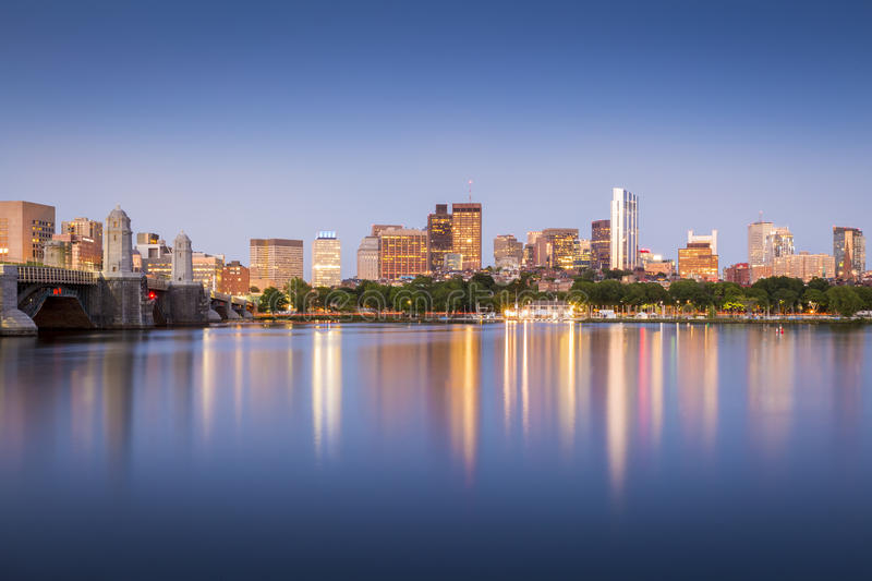 Boston. View of Boston in Massachusetts, USA at sunset showcasing its mix of modern and historic architecture royalty free stock photos
