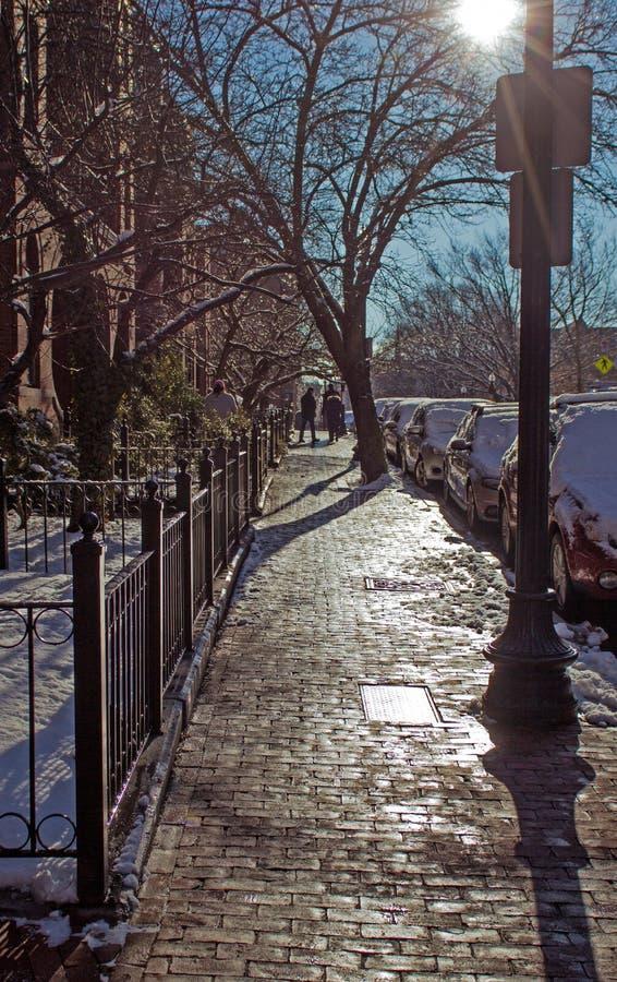Boston vinter Ljus som stenläggas fotografering för bildbyråer
