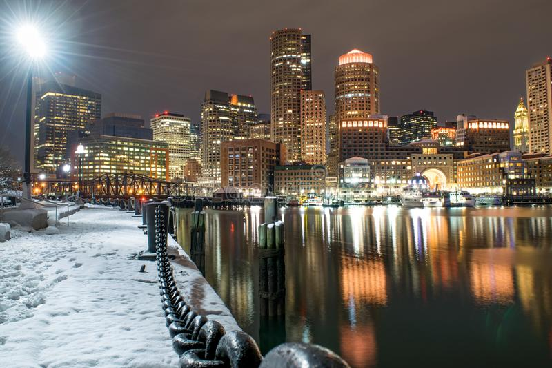 Boston Waterfront and Skyline in Winter royalty free stock images