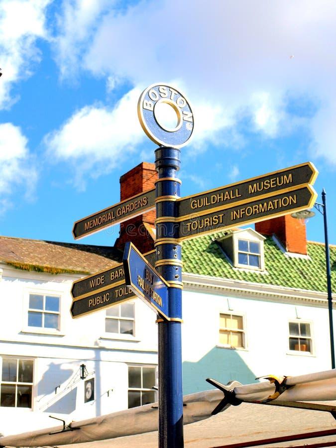 Boston-Wegweiser, Lincolnshire, Großbritannien stockfotos