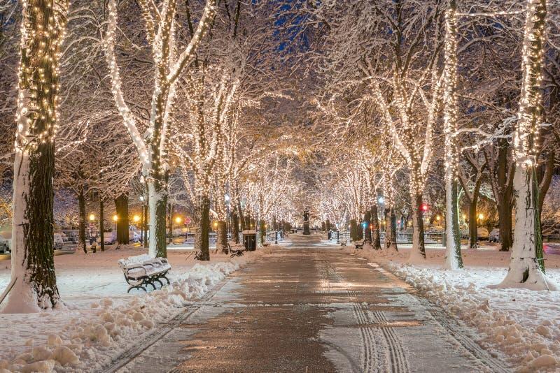 Boston am Weihnachten lizenzfreie stockfotos